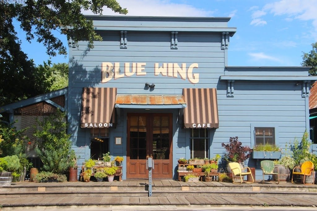 Blue Wing Saloon across the courtyard from the Tallman Hotel in Upper Lake