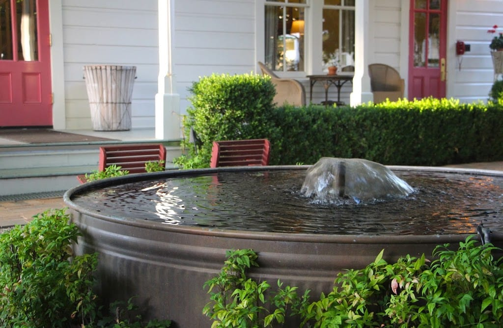 Courtyard fountain at the Tallman Hotel