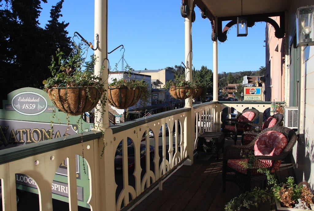 Hotel balcony overlooking Main Street in Jamestown