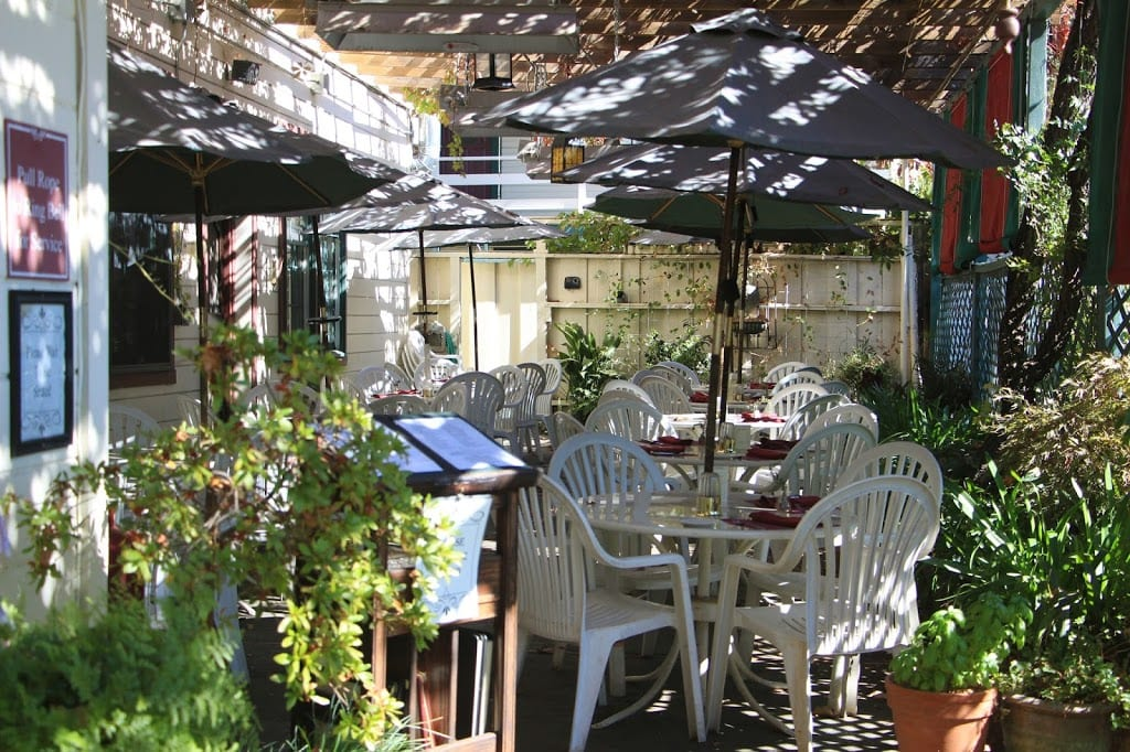 The restaurant's garden patio