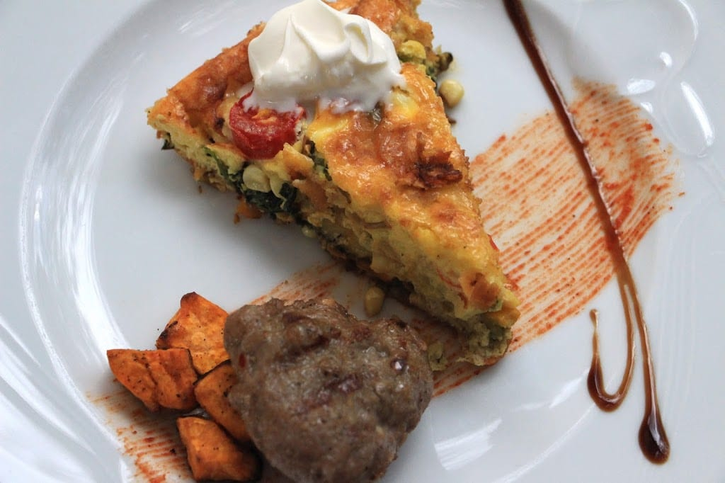 Vegetable frittata with sausage and sweet potatoes