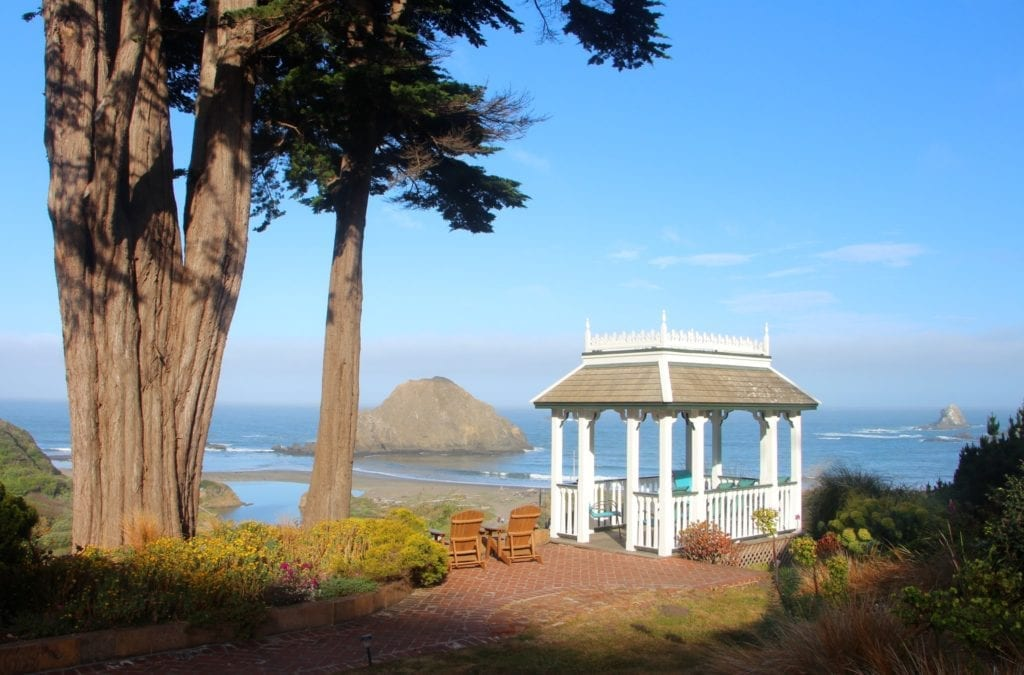 The gazebo at Elk Cove Inn & Spa overlooking Greenwood State Beach