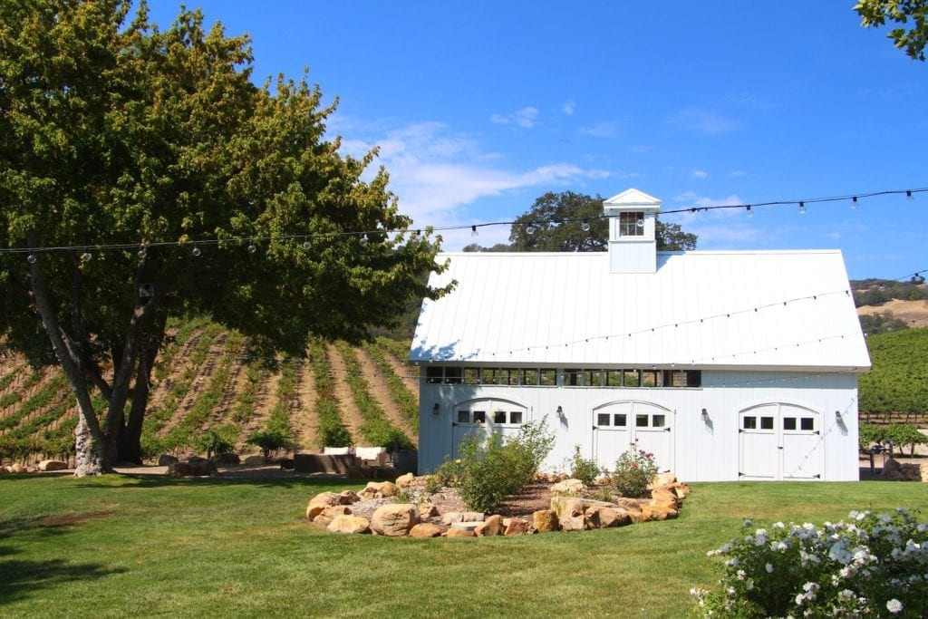 Lawn and barn at HammerSky Vineyards