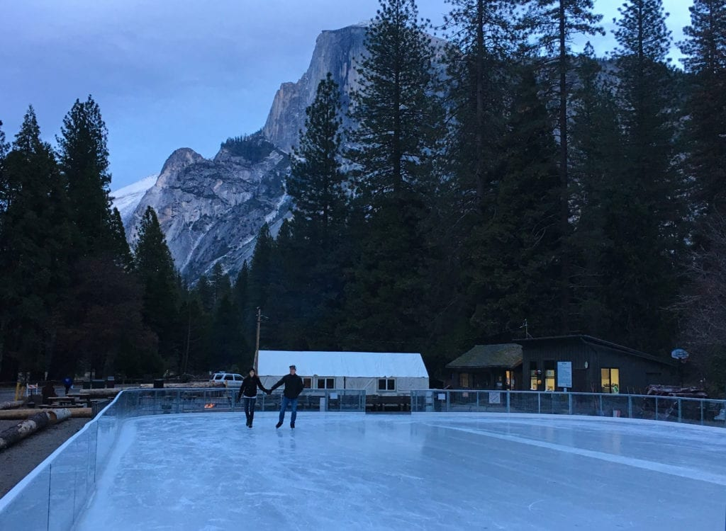 Ice skating under Half Dome in Yosemite