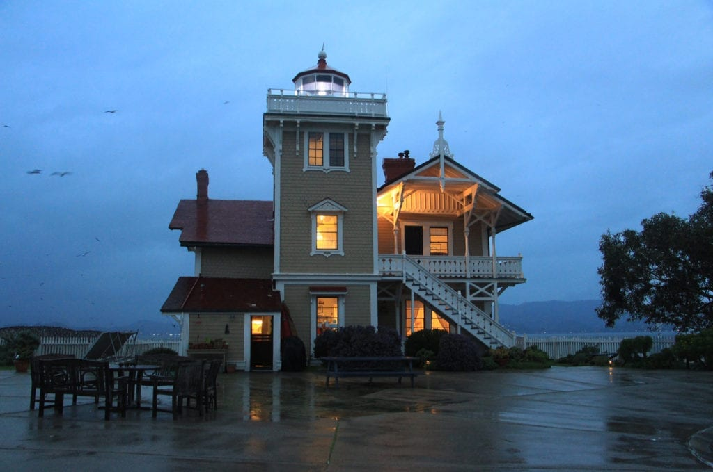 Exterior of the East Brother Light Station at Dusk