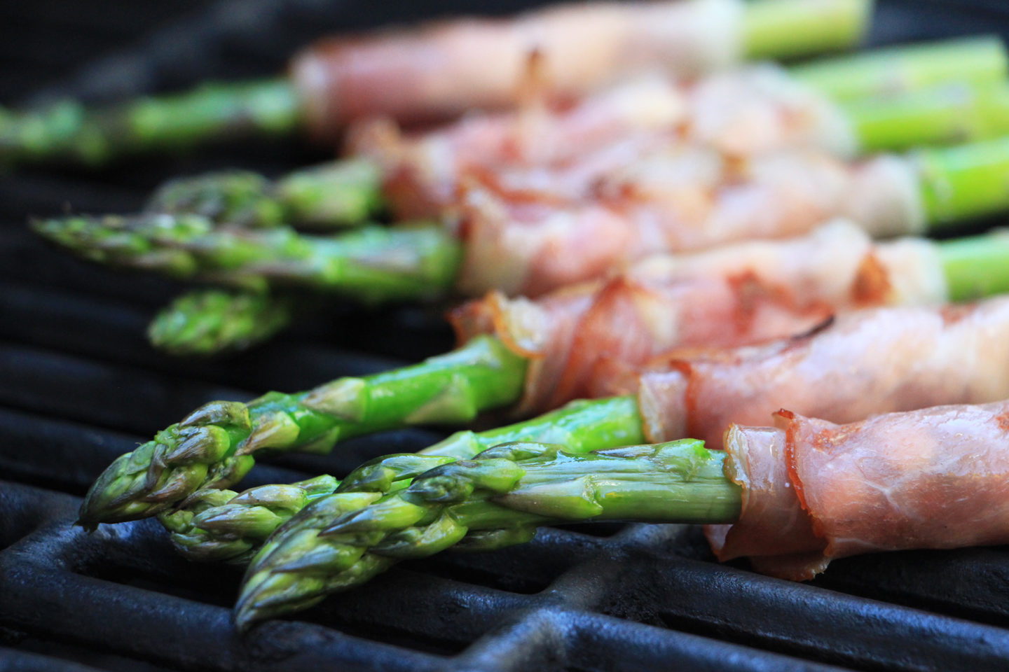 Grill on high heat for two minutes or just until the asparagus turns a bright shade of green.