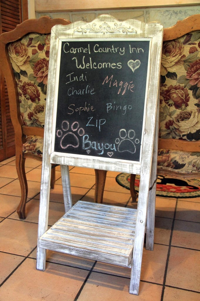 Pet welcome board at Carmel Country Inn