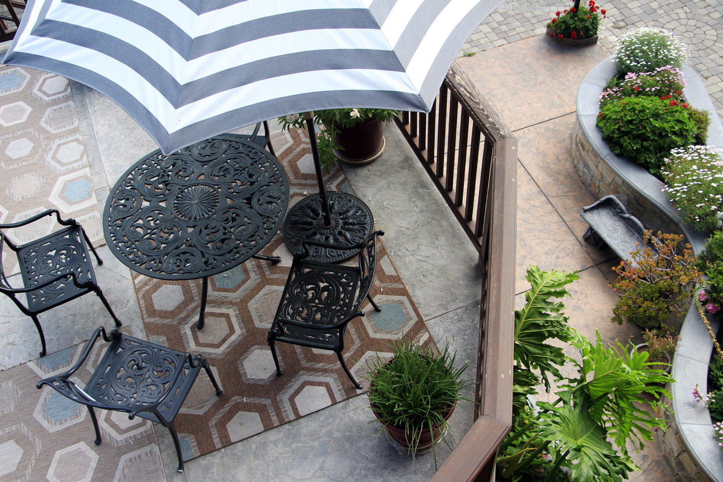One of the patios at the Coachman's Inn