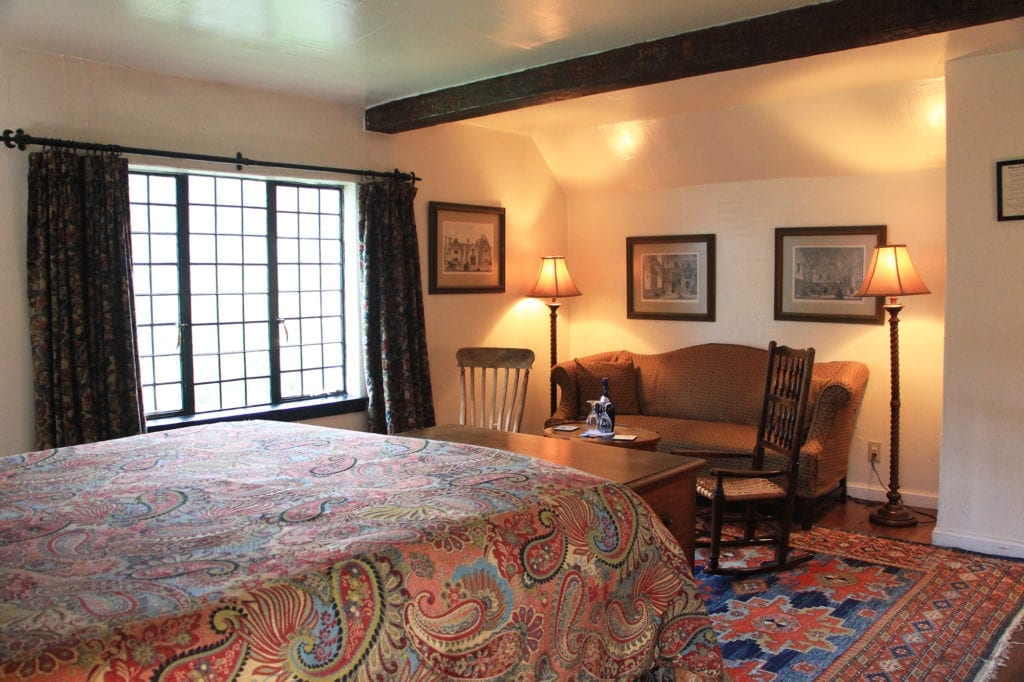 Guest room at The Pelican Inn
