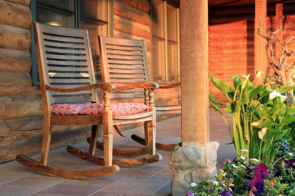 Front porch of the Purple Orchid Wine Country Resort & Spa