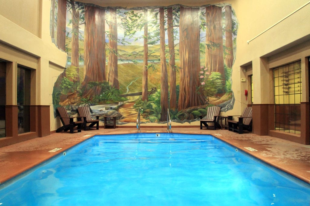 Indoor pool at The Redwood Riverwalk Hotel