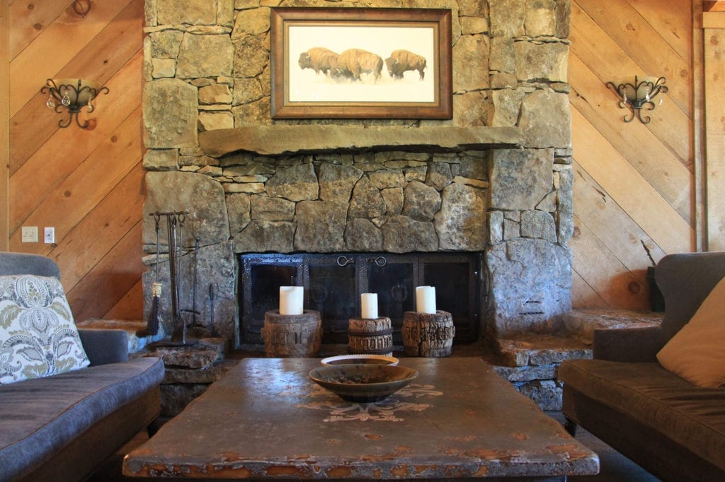 Lodge fireplace at Highlands Ranch Resort