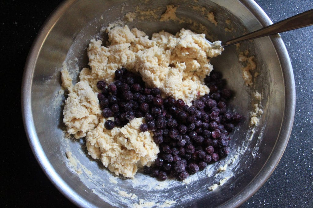 Add the frozen blueberries to the mixture