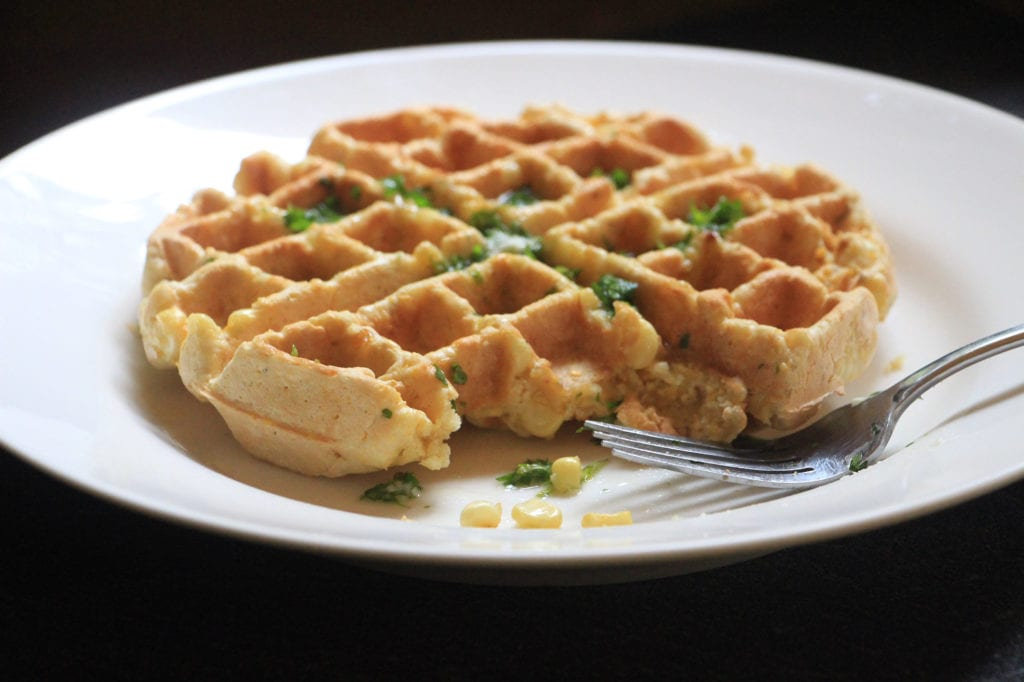 Carter House Inn's fresh corn waffles with cilantro butter