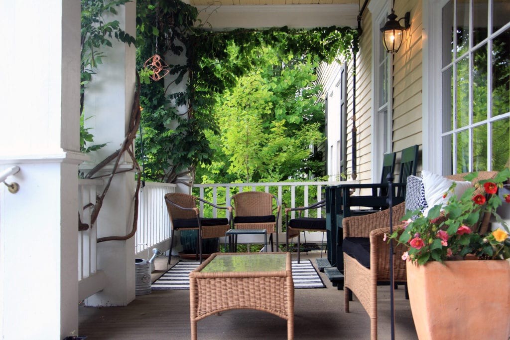 Front porch of the McCloud Hotel