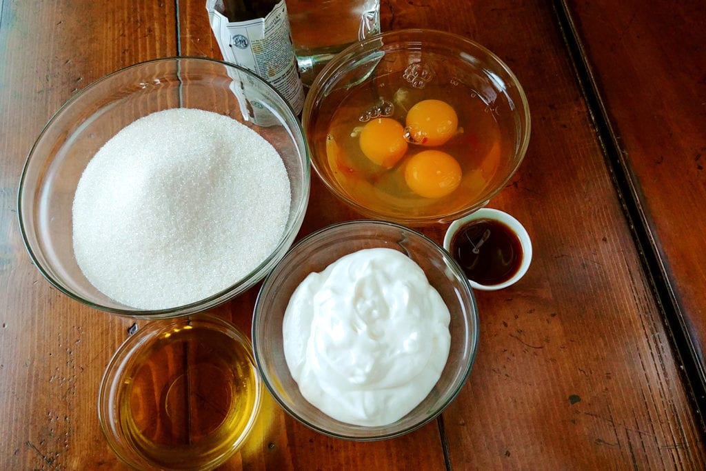 Wet ingredients for the Strawberry Creek Inn's carrot cake muffins