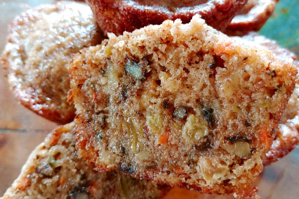 Interior crumb of a carrot cake muffin from the Strawberry Creek Inn