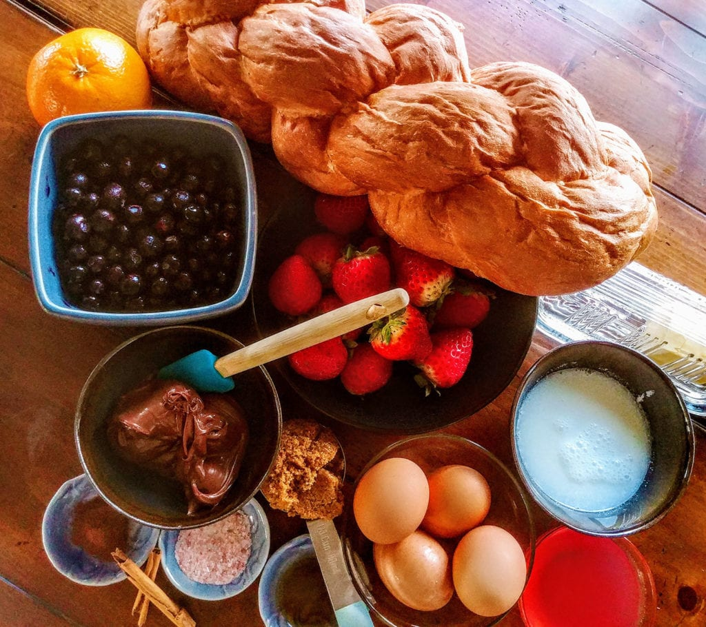 Ingredients for Nutella French Toast