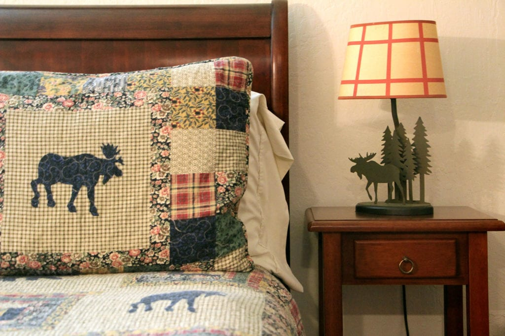 Detail of Moose Crossing guest room at Donner Lake Inn