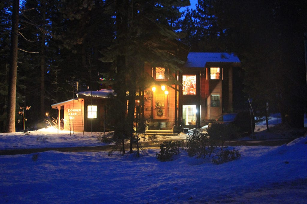 Donner Lake Inn at night