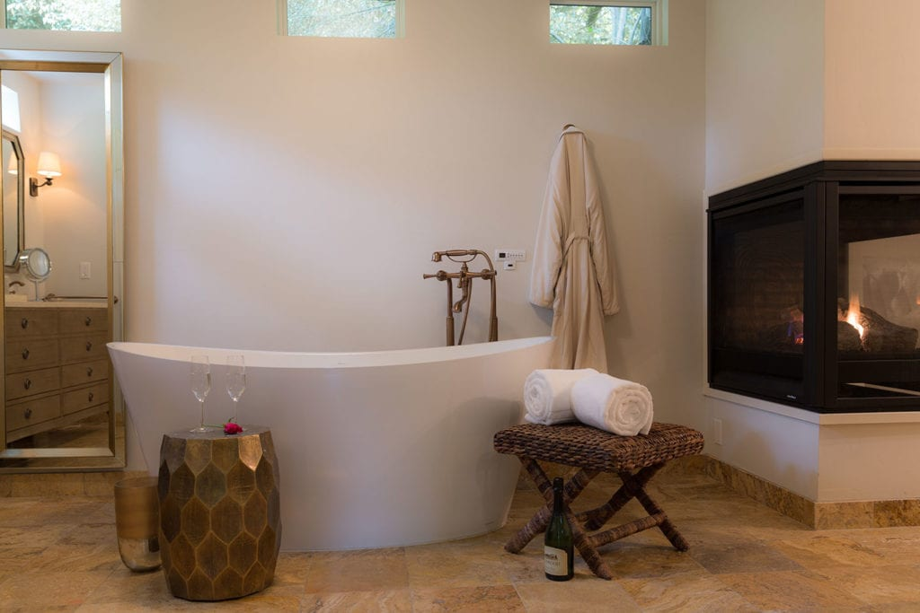 Fireside spa tub in the Sonoma Suite at Kenwood Inn & Spa