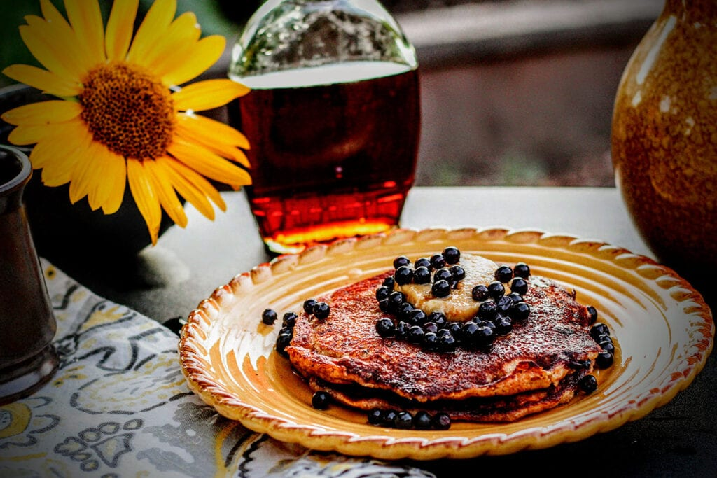 Wild Huckleberry Whole Wheat Pancakes with Pine Nut Butter