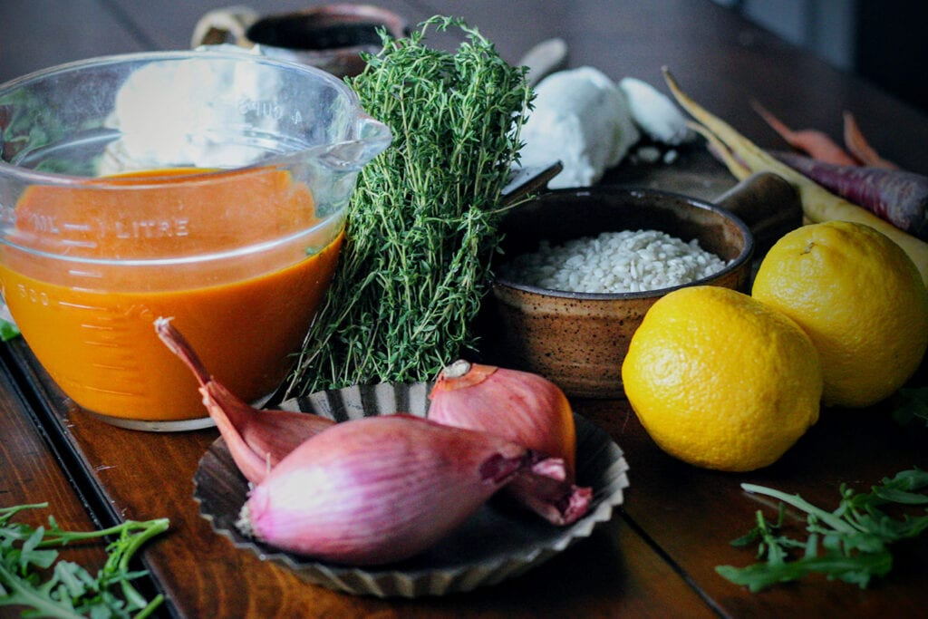 Carrot risotto ingredients