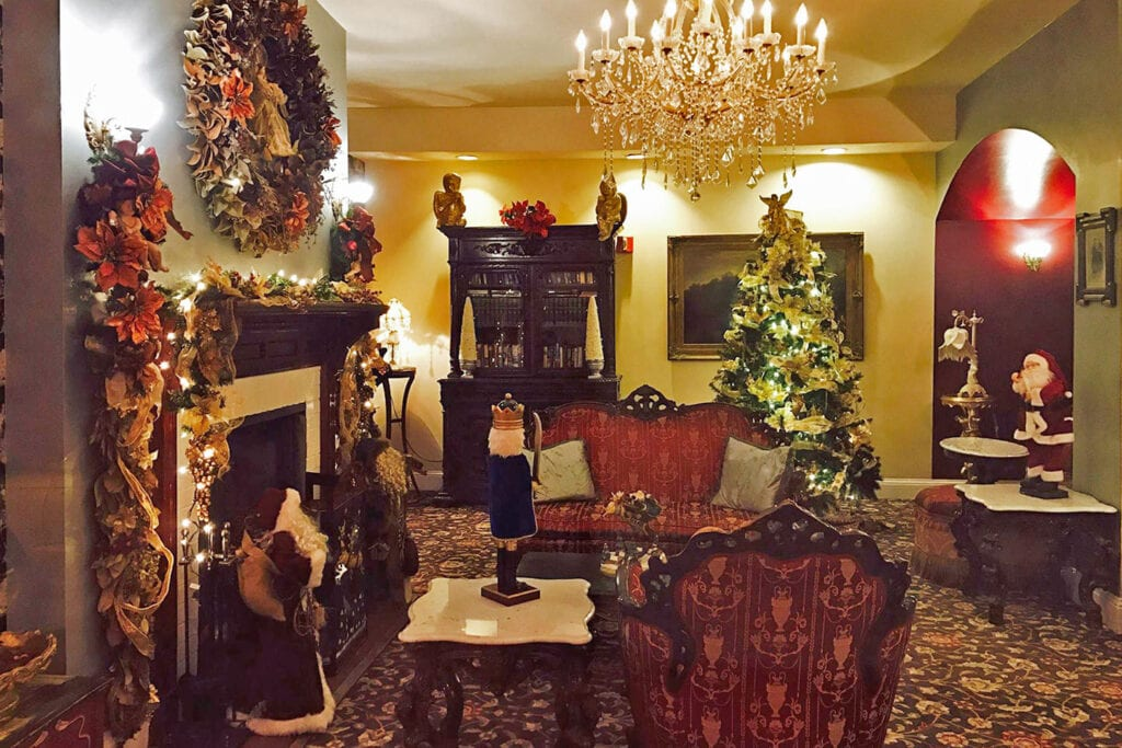 Queen Anne Hotel decorated for the holidays