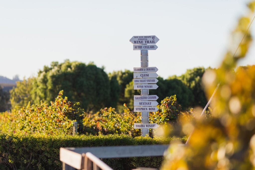 San Luis Obispo Coastal Wine Trail signage
