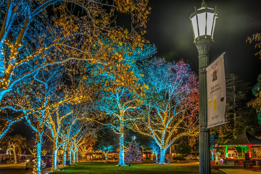 Solvang town square decorated in lights for the holidays