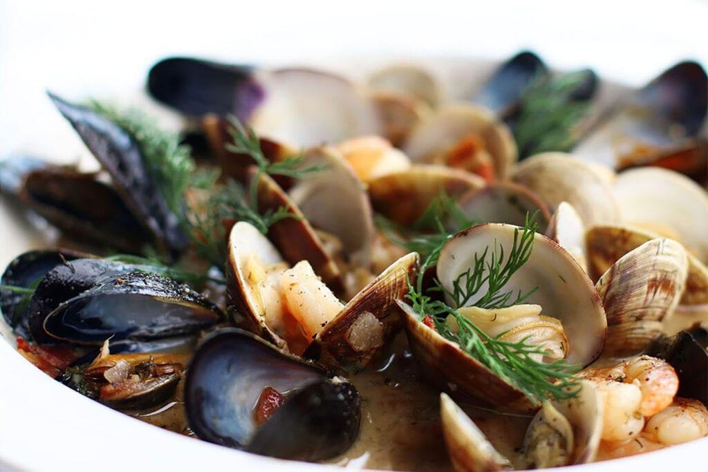 Steamed shellfish appetizer at Albion River Inn