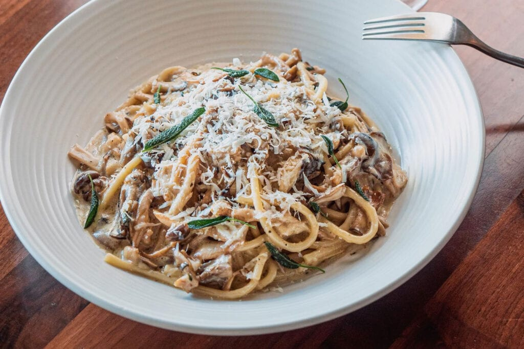 Bucatini with roasted mushrooms at The Landsby's Mad & Vin