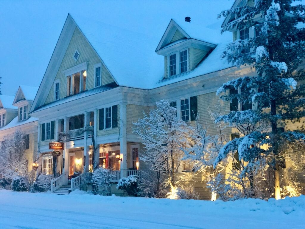 McCloud Hotel in snow