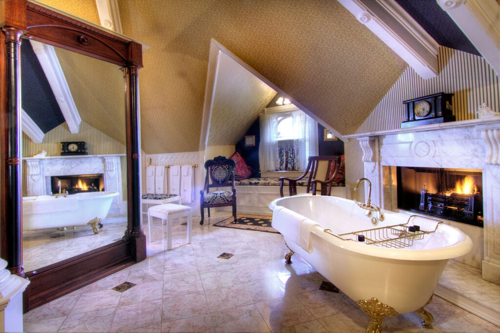 Fireside bath in the Empire Suite at Gingerbread Mansion