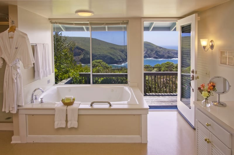 Spa tub with a view at Albion River Inn