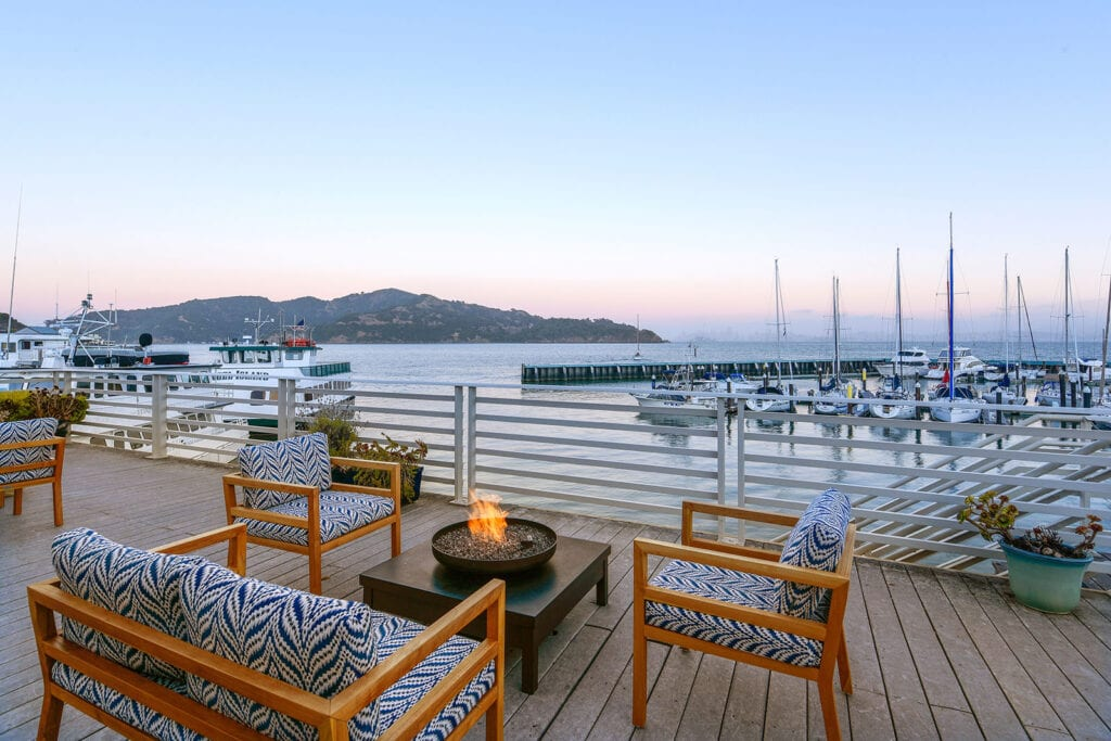 Waterfront deck at Waters Edge Hotel
