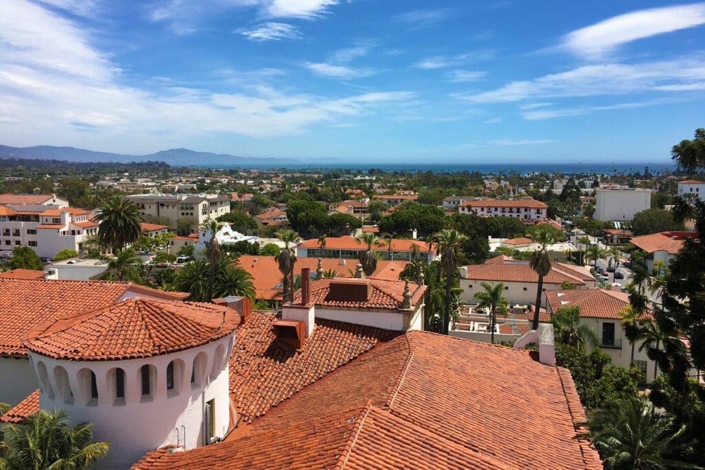 View from the tower of the Santa Barbara County Courthouse