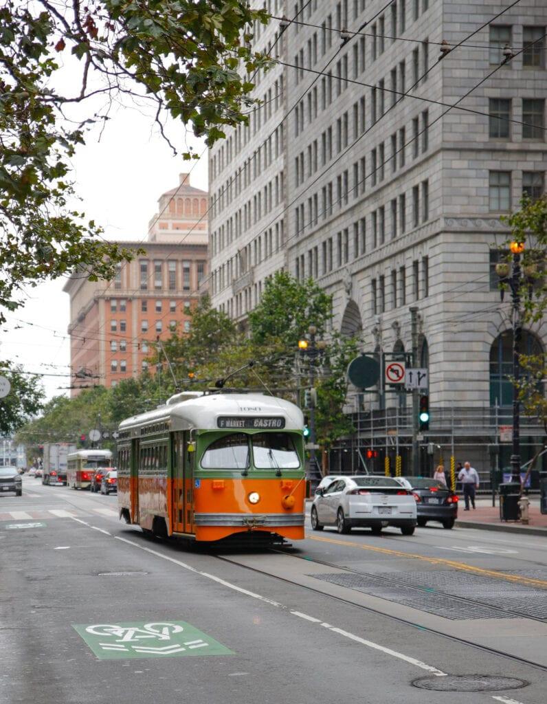 Streetcar in downtown San Francisco