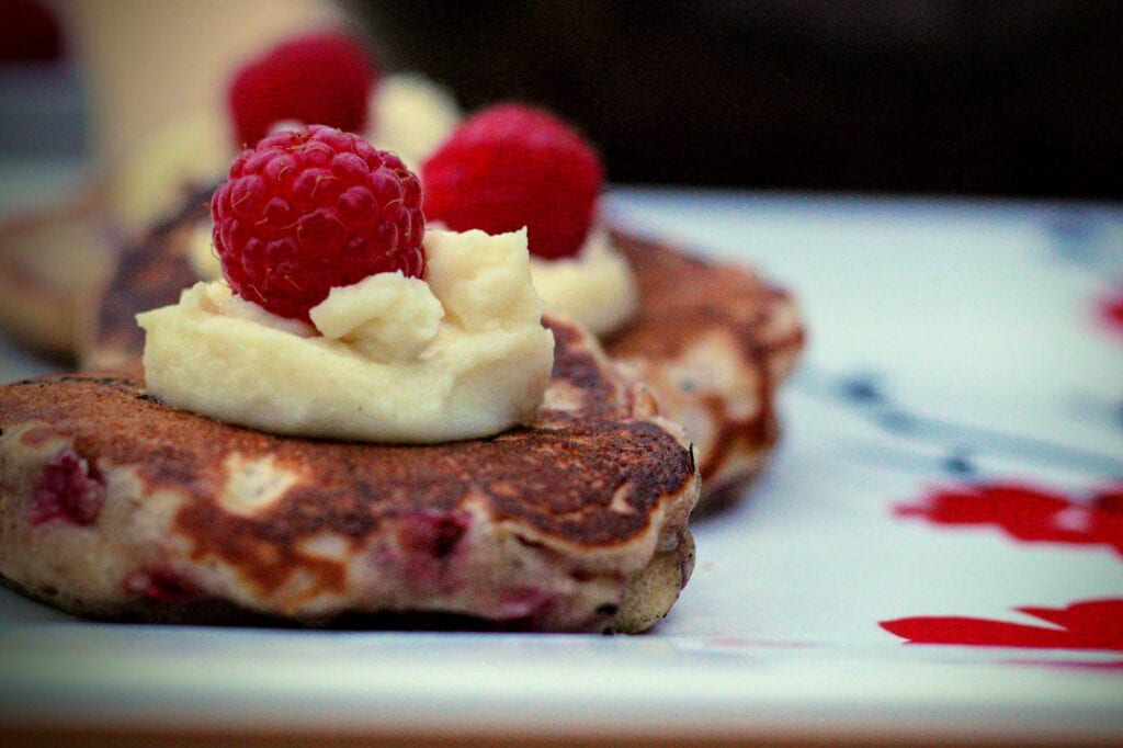 The Bissell House's Raspberry Pikelets with Mascarpone