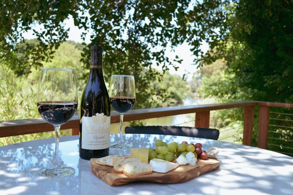 Wine and cheese at Milliken Creek Inn