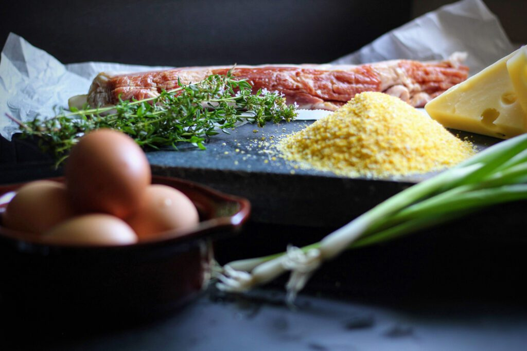 ingredients for Inn on Randolph's Bacon-Wrapped Polenta with Baked Eggs