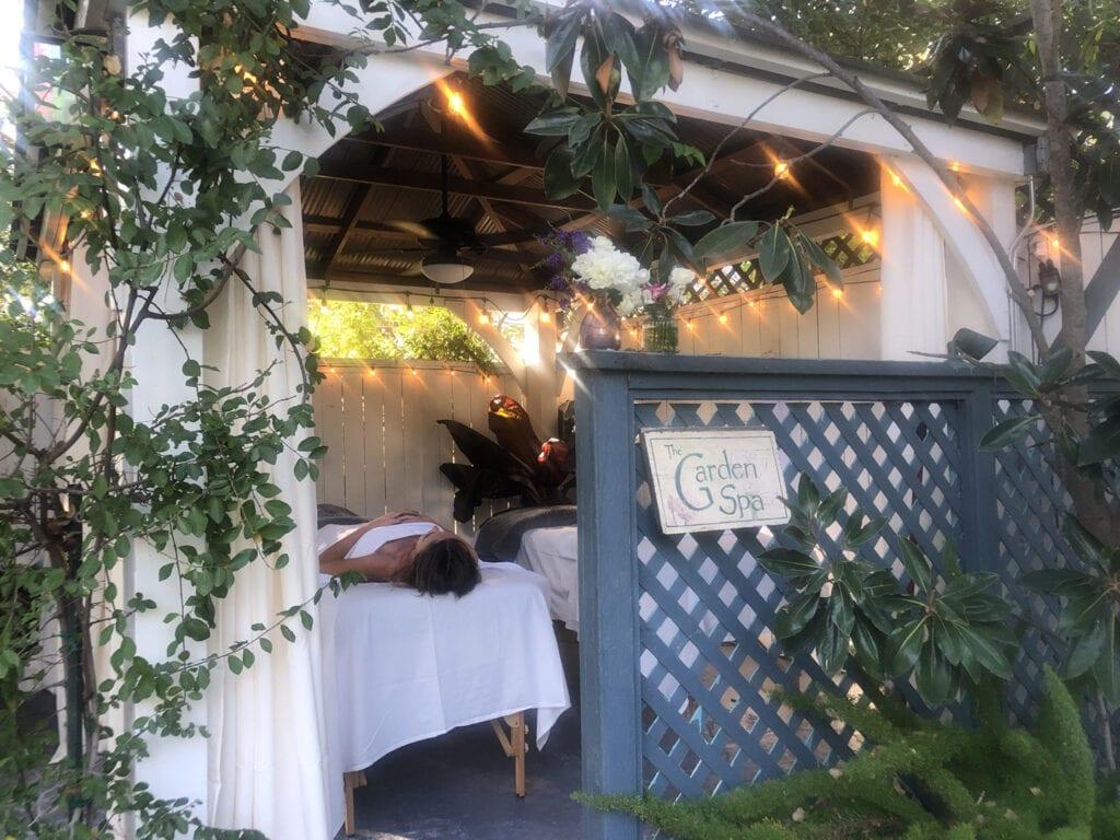 Outdoor massage room at Lavender Inn