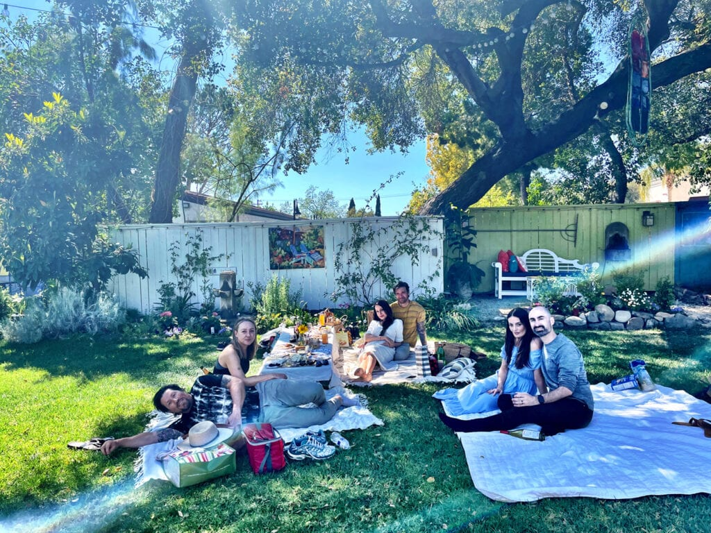 Picnicking on the lawn at Lavender Inn