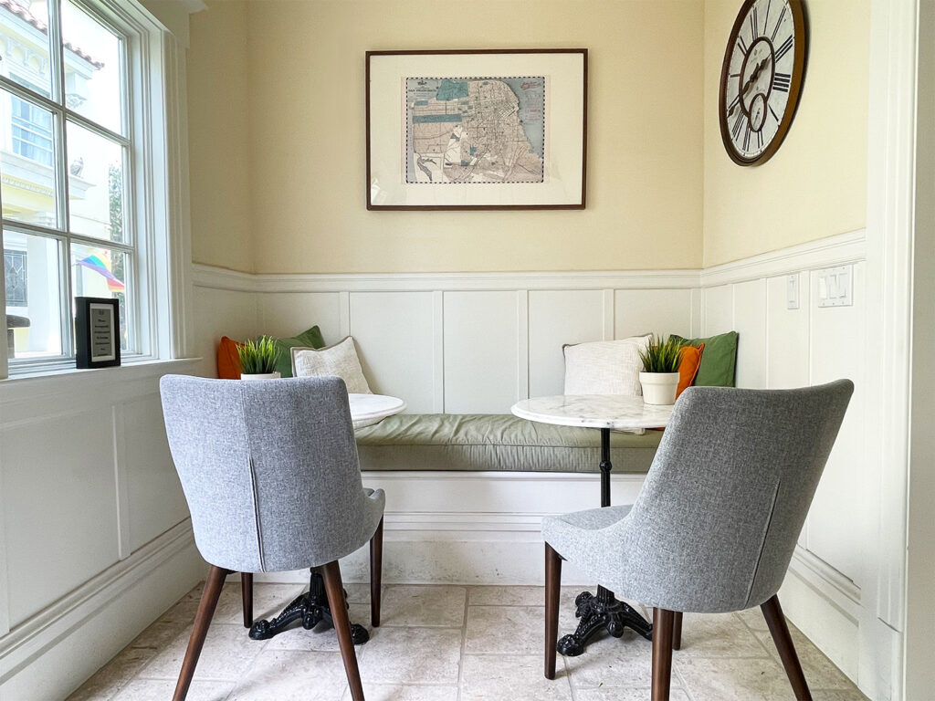 Cozy dining nook at Parker Guest House