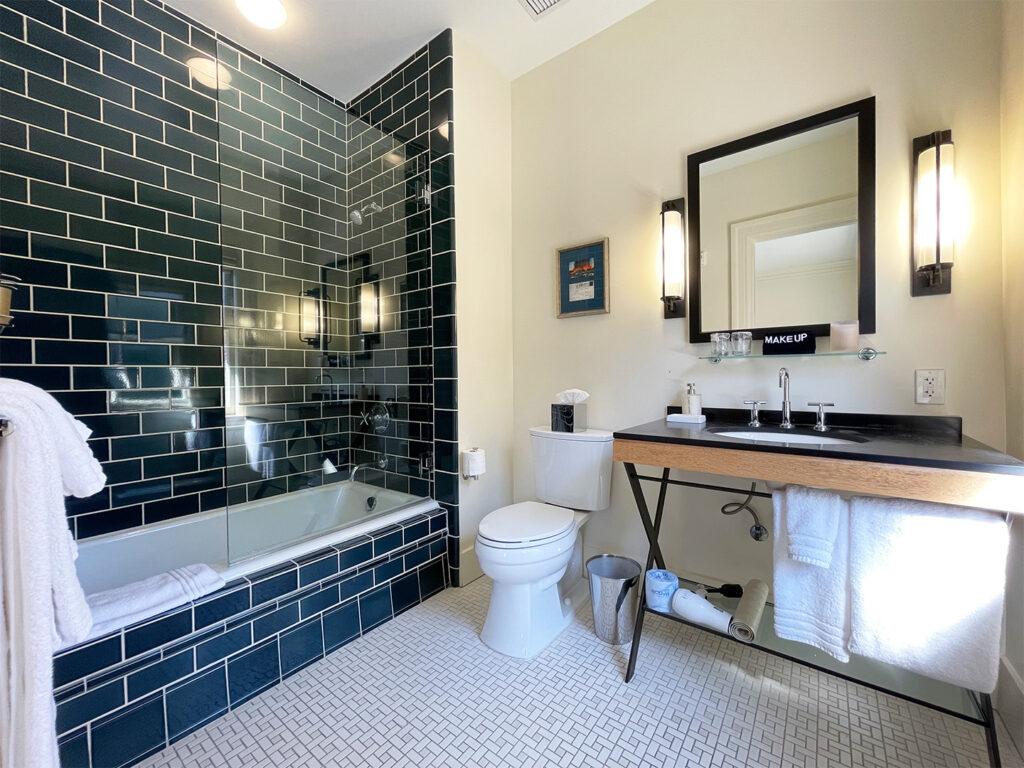 Guest room bath at the Inn at the Presidio
