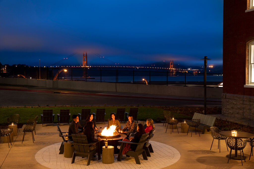 Lodge at the Presidio fire pit with views of Golden Gate Bridge