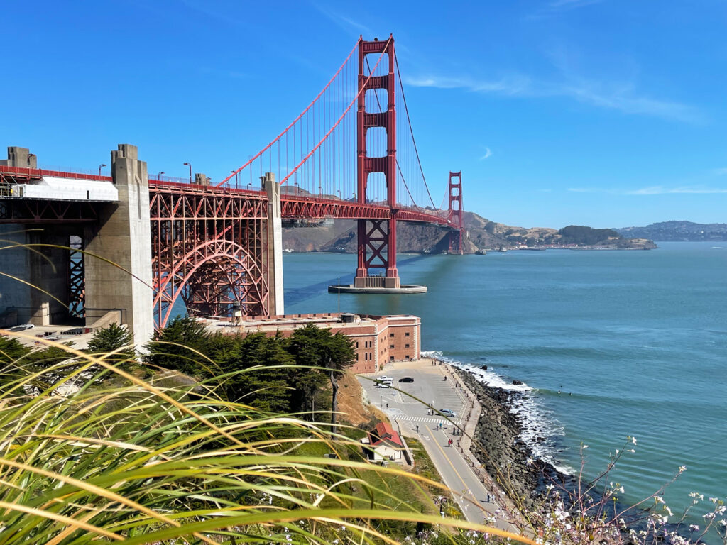 View of Fort Point National Historic Site and Golden Gate Bridge
